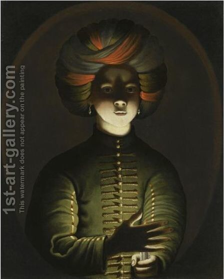 A Young Girl Wearing A Turban And Holding A Candle by (after) Wolfgang Heimbach - Reproduction Oil Painting