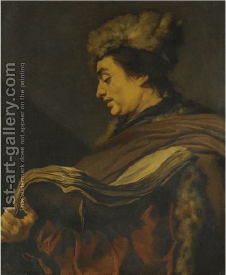 Profile Of A Man Wearing A Fur Hat And A Fur-Lined Coat, Holding A Book by Claude Vignon - Reproduction Oil Painting