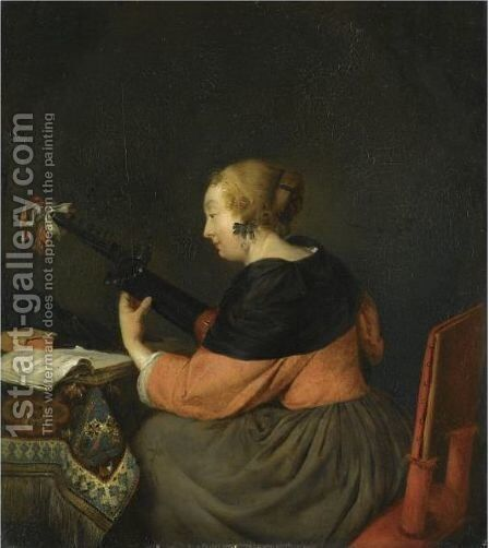 A Lady Seated At A Table Playing A Lute by (after) Gerard Ter Borch - Reproduction Oil Painting