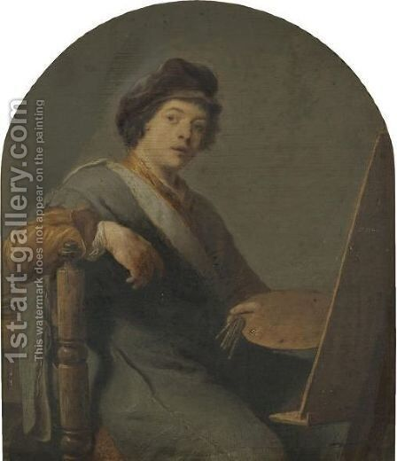 Self Portrait Of An Artist, Seated At An Easel by Dutch School - Reproduction Oil Painting