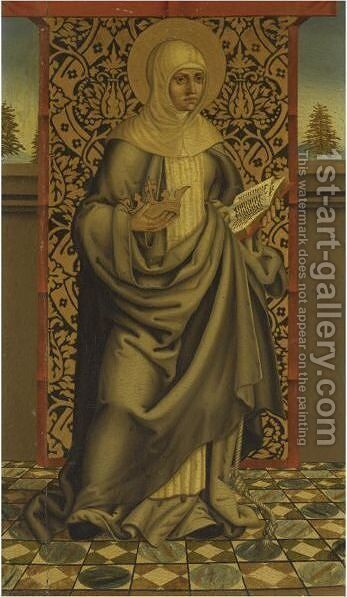 A Female Dominican Saint, Holding A Crown And An Open Book, Possibly Saint Catherine Of Siena by Castilian School - Reproduction Oil Painting