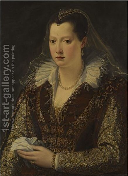 Portrait Of A Lady, Possibly Eleonora De Medici (1553-1576) by (after) Alessandro Allori - Reproduction Oil Painting