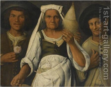 An Allegory With An Old Lady Spinning Flanked By Two Male Peasants by Cremonese School - Reproduction Oil Painting