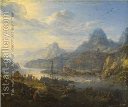 An Extensive Rhenish River Landscape With Barges And Mountains Beyond by Herman Saftleven - Reproduction Oil Painting