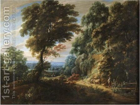 A Wooded Landscape With A Shepherdess Passing A Steep Bank, Probably On The Edge Of The Foret De Soignes by Jaques D'Arthois - Reproduction Oil Painting