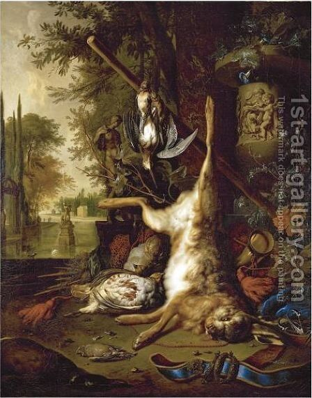 Still Life With Dead Game And An Ornate Vase by Dirk Valkenburg - Reproduction Oil Painting