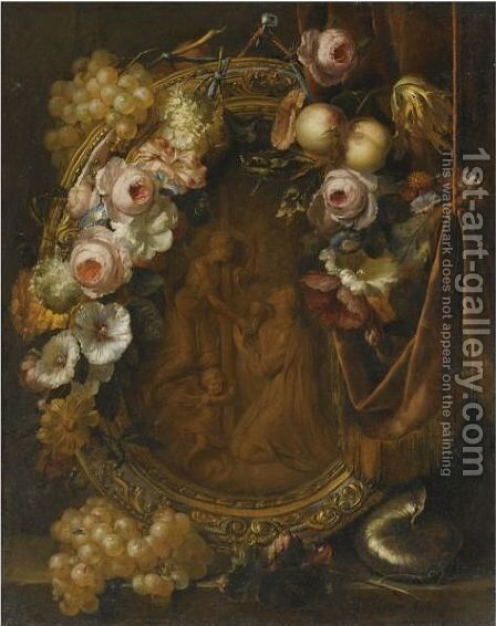 Still Life With A Garland Of Fruit And Flowers Adorning A Bronze Relief Of The Agony In The Garden by Heroman Van Der Mijn - Reproduction Oil Painting