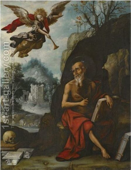 The Penitent Saint Jerome by Spanish School - Reproduction Oil Painting