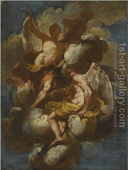 Angels Ascending On A Cloud by Giovanni Domenico Ferretti - Reproduction Oil Painting