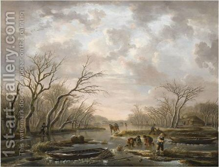 Winter Landscape With Skaters On A Frozen Canal by Andries Vermeulen - Reproduction Oil Painting