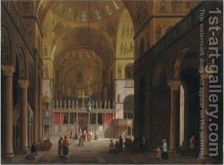 Venice, A View Of The Interior Of The Basilica Of San Marco by Carlo Canella - Reproduction Oil Painting
