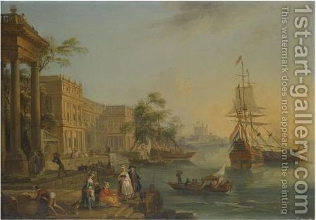 A Capriccio View Of The Custom House And Embankment In London With Figures On The Quay In The Foreground by Jean-Baptiste Lallemand - Reproduction Oil Painting