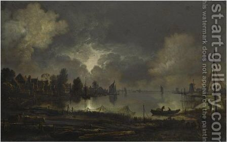 View Of A Lakeside Town By Moonlight, With An Eel Trap In The Foreground by Aert van der Neer - Reproduction Oil Painting