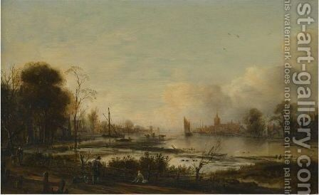 A River Estuary At Dusk With Figures Returning Home Along A Track, A Town Beyond by Aert van der Neer - Reproduction Oil Painting