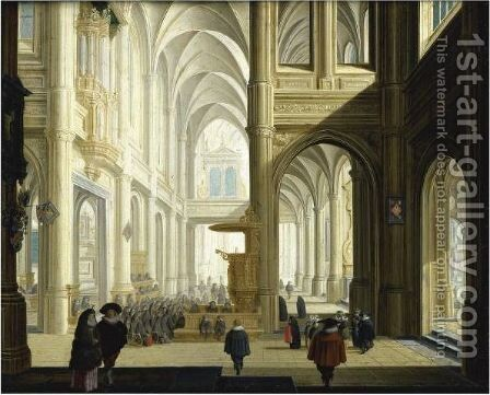 The Interior Of A Gothic Cathedral, With Numerous Elegant Figures, And Women Listening To A Bible Reading by Dirck Van Delen - Reproduction Oil Painting
