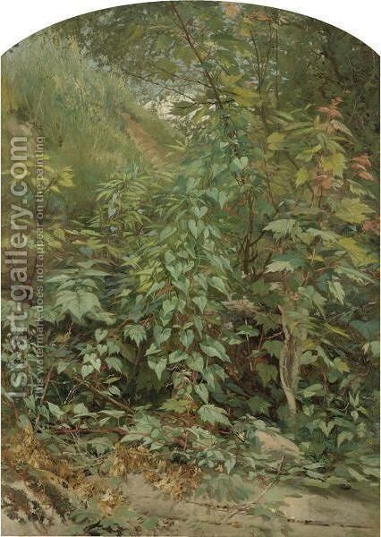 Leaf Study With Yellow Swallow Tail by Aaron Draper Shattuck - Reproduction Oil Painting