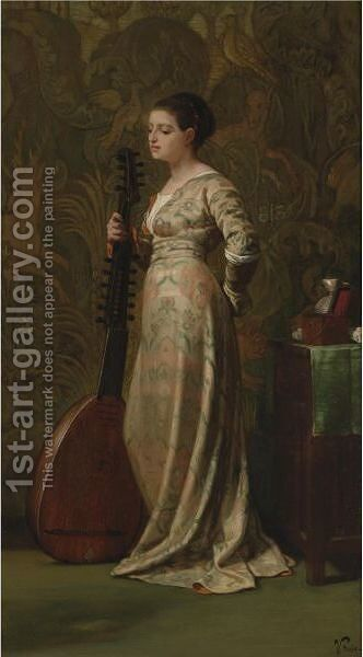 Girl With A Lute by Elihu Vedder - Reproduction Oil Painting