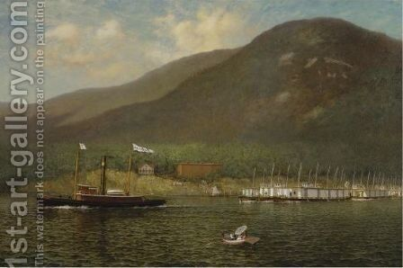 Tug A.C. Cheney Towing Barges Past Bear Mountain by James Gale Tyler - Reproduction Oil Painting