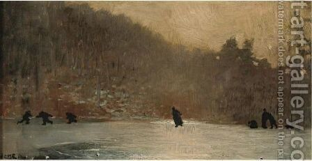 Skating Scene by Winslow Homer - Reproduction Oil Painting