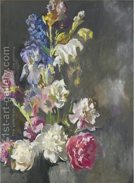 Still Life Study Of Peonies And Iris by Edmund Charles Tarbell - Reproduction Oil Painting