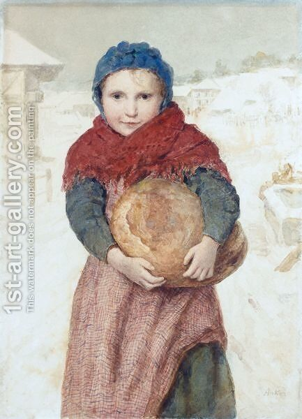 Girl With Loaf Of Bread by Albert Anker - Reproduction Oil Painting