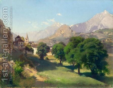 Bramois (Valais), 1861 by Johann Gottfried Steffan - Reproduction Oil Painting