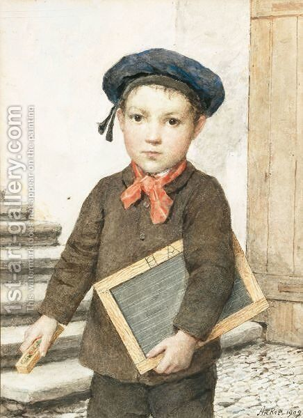 Schoolboy With Slate, 1909 by Albert Anker - Reproduction Oil Painting