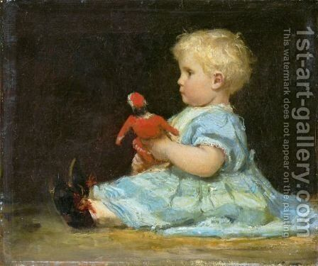 Marie Anker With Doll, 1873 by Albert Anker - Reproduction Oil Painting