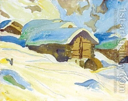 Winter Landscape by Giovanni Giacometti - Reproduction Oil Painting