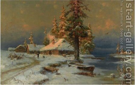 Early Evening In Winter by Iulii Iul'evich (Julius) Klever - Reproduction Oil Painting