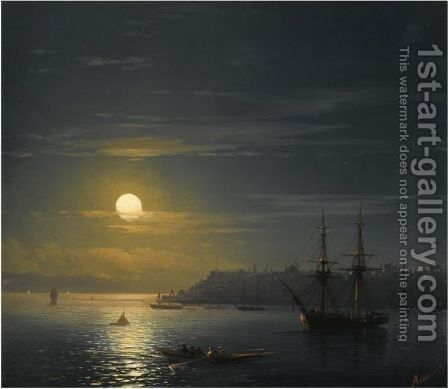 View Of Constantinople In Moonlight by Ivan Konstantinovich Aivazovsky - Reproduction Oil Painting
