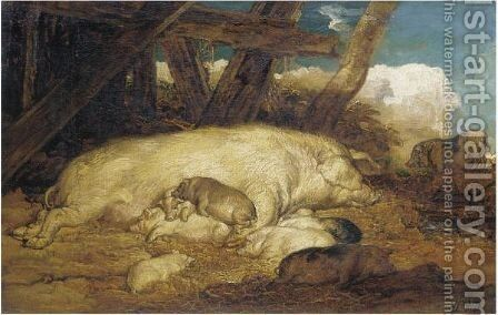 A Sow With Piglets by James Ward - Reproduction Oil Painting