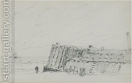 The Jetty, Calais by David Cox - Reproduction Oil Painting