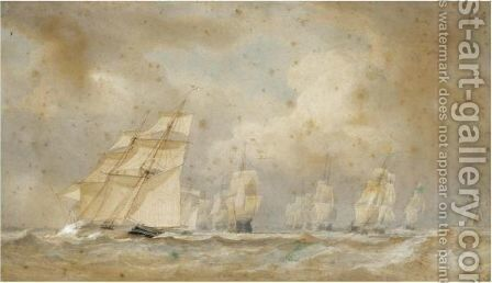 Brigs Racing Round The Fleet by Sir Oswald Walters Brierly - Reproduction Oil Painting