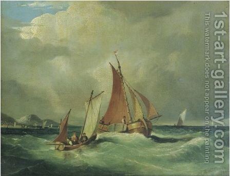 Fishing Boats On An Open Seas, Mountainous Coastline Beyond by (after) Frederick Calvert - Reproduction Oil Painting