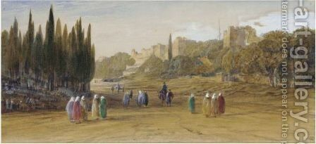 The Walls Of Constantinople by Edward Lear - Reproduction Oil Painting