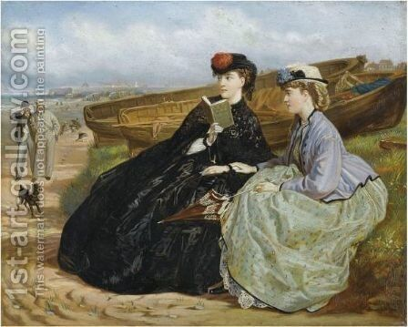 A Seaside Romance by Charles Wynee Nicholls - Reproduction Oil Painting