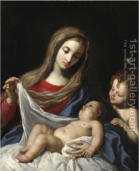 Madonna Col Bambino E San Giovannino by Angelo Massarotti - Reproduction Oil Painting