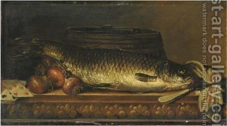 Natura Morta Con Un Pesce, Cipolle E Carte Da Gioco by Netherlandish School - Reproduction Oil Painting