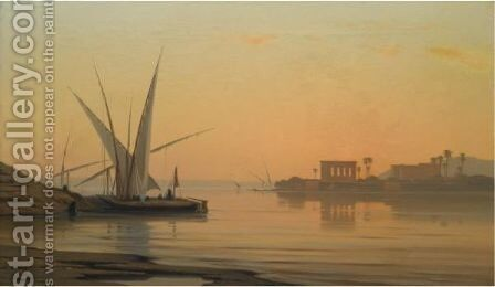 Dhows On The Nile, Philae by Auguste Veillon - Reproduction Oil Painting