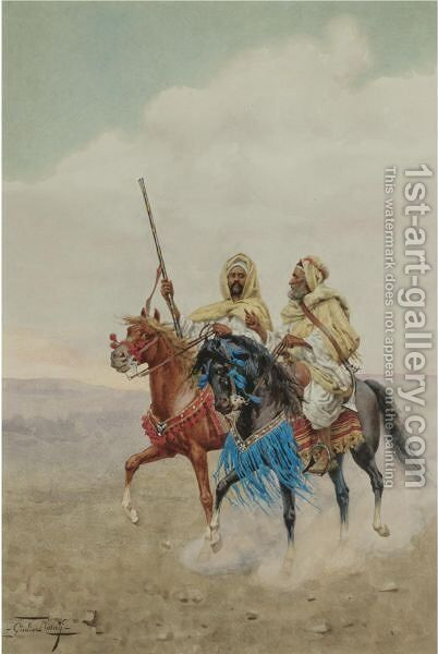 Horsemen Of The Desert by Giulio Rosati - Reproduction Oil Painting
