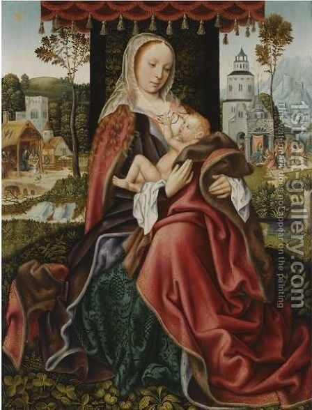 The Virgin And Child In A Landscape Setting by Master Of Frankfurt - Reproduction Oil Painting