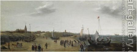 A View Of The Beach At Scheveningen With Fishermen Unloading Their Catch, Elegant Figures Strolling Along The Beach by Hendrick Cornelisz. Vroom - Reproduction Oil Painting