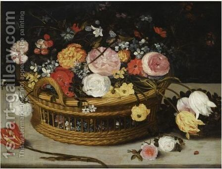 Still Life Of Roses, Tulips, Chrysanthemums, Anemones And Other Flowers by (after) Jan The Elder Brueghel - Reproduction Oil Painting