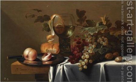 Still Life With Blue And White Grapes, Chestnuts, A Loaf Of Bread, Peaches And A Knife On A Pewter Plate by Michiel Simons - Reproduction Oil Painting