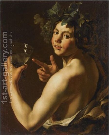 Young Bacchus Holding A Roemer by (after) Michelangelo Merisi Da Caravaggio - Reproduction Oil Painting