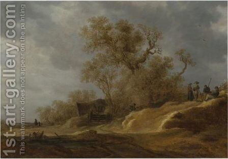 A Dune Landscape With Peasants By A Track 3 by Jan van Goyen - Reproduction Oil Painting