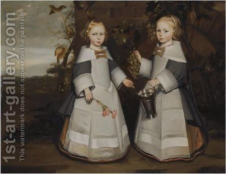 A Portrait Of Young Twin Girls, Aged 4 by Delft School - Reproduction Oil Painting