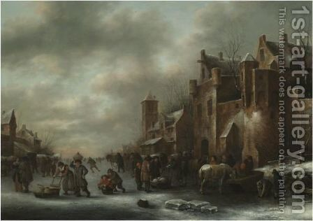 A Winter Landscape With Numerous Figures On A Frozen River Outside The Town Walls by Claes Molenaar (see Molenaer) - Reproduction Oil Painting