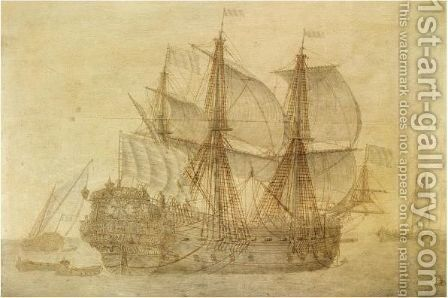 The Dutch Voc Ship De Concordia In A Calm Sea, A Flagship And A Smalship In The Distance by Cornelis Bouwmeester - Reproduction Oil Painting